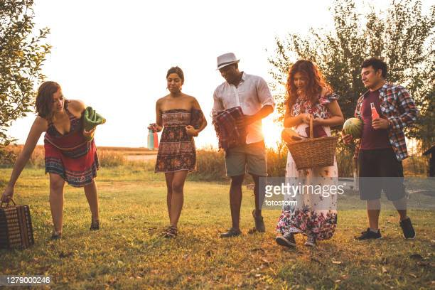 a group of friends organizing a picnic on the grass - mexican picnic stock pictures, royalty-free photos & images