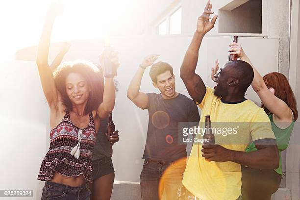 Group of friends partying