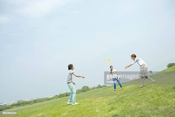 Group of friends playing flying disk on grass