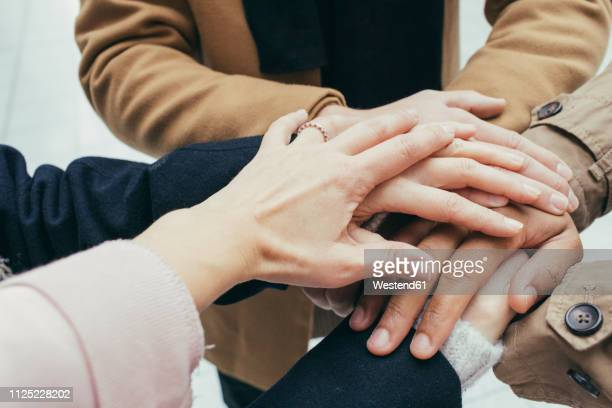 group of friends putting hands together - togetherness stock pictures, royalty-free photos & images