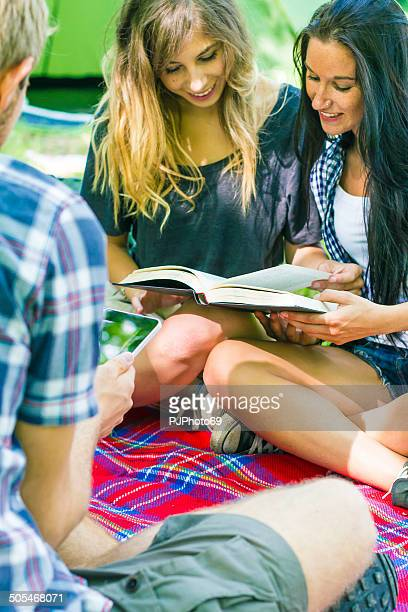 group of friends relaxing at camping - pjphoto69 stock pictures, royalty-free photos & images