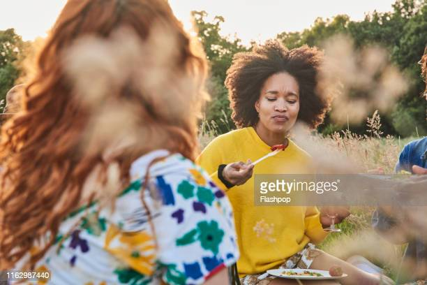 group of friends relaxing outside on a warm summers evening - vegetarianism stock pictures, royalty-free photos & images