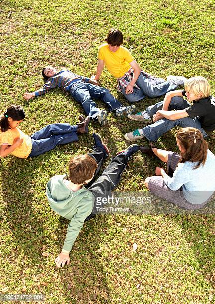 Group of friends (9-13) sitting on grass, elevated view
