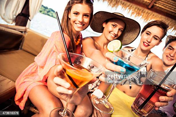 Group of friends toasting at birthday party