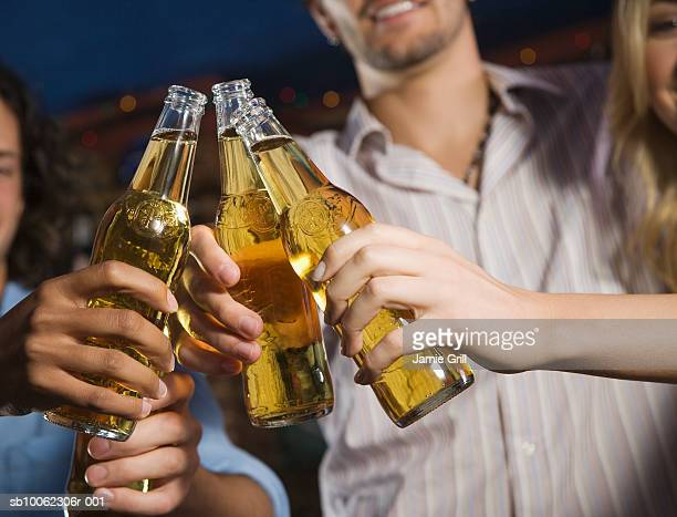 Group of friends toasting beer bottles, close-up