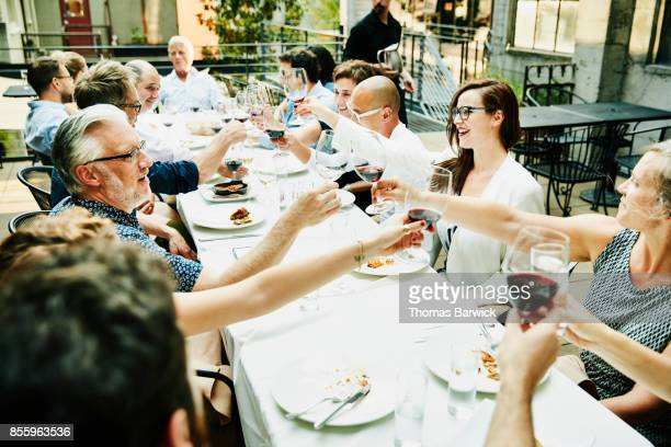 Group of friends toasting during celebration meal on restaurant patio on summer evening