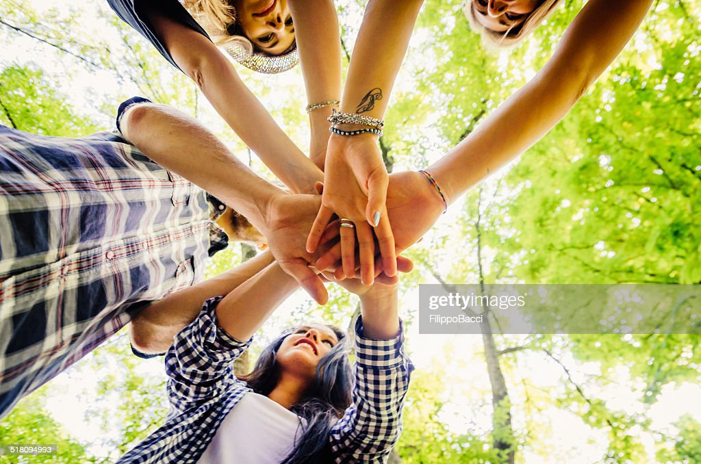 Group Of Friends Together At The Park : Stock Photo