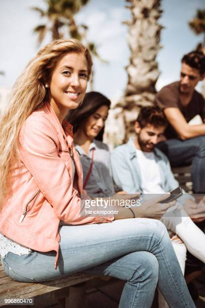 group of friends using social media all together