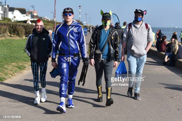 Group of friends walk along the promenade on a warm sunny Easter Sunday at Chalkwell beach on April 04, 2021 in Southend-on-Sea, England. Earlier...