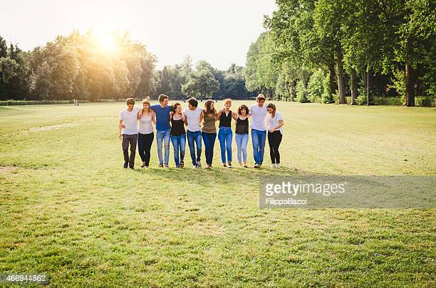 Group Of Friends Walking Together