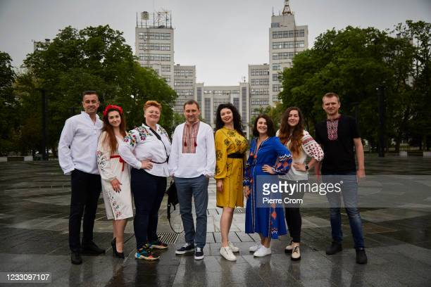 Group of friends wearing traditional Ukrainian shirts on Embroidery Day on May 20, 2021 in Kharkiv, Ukraine.