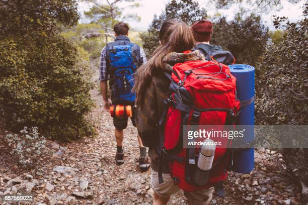 Group of friends with backpacks hiking in the forest