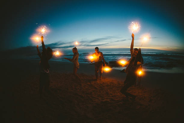 Group Of Friends With Fireworks Wall Art