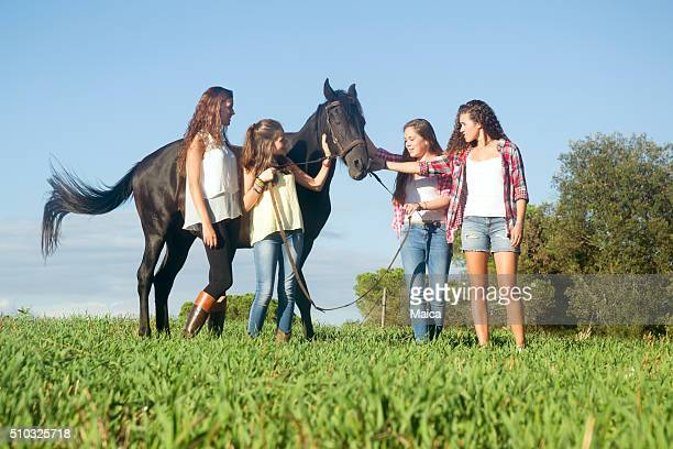 Group of friends with the horse