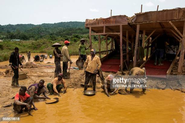 A group of Galamseyers illegal gold panners work in Kibi area on April 10 2017 These groups can range from 50 men to small ones of 5 Most of the work...