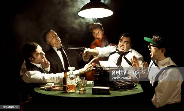 group of gangsters playing poker in a vintage room