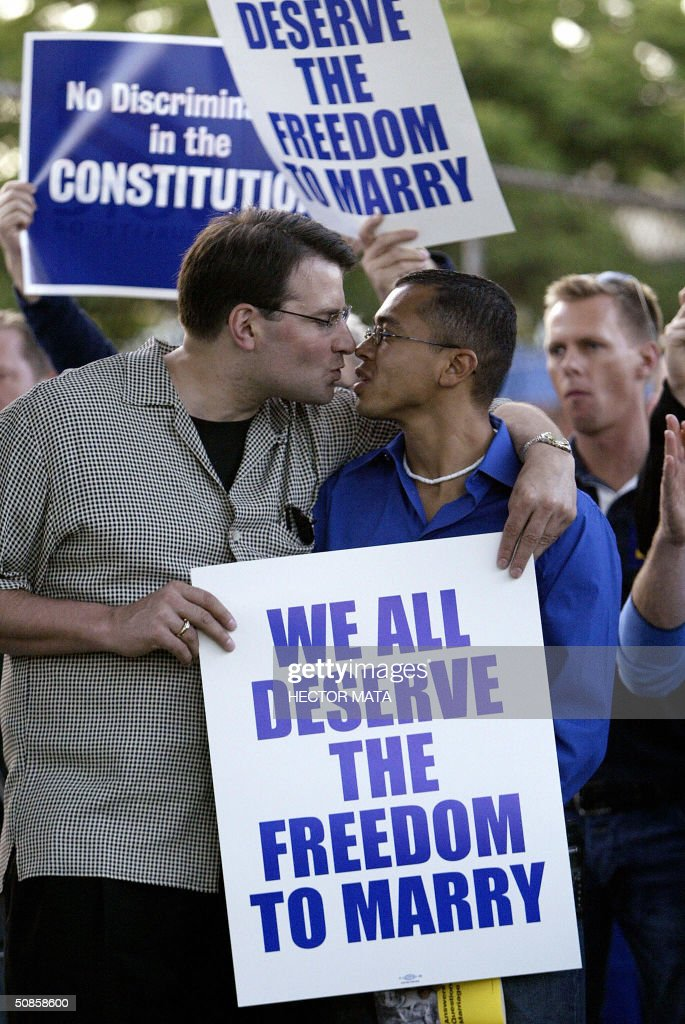 A group of gay, lesbians and community rights activists attend a rally celebrating marriage equality and recognizing the issuance of same sex marriage licenses in Massachusetts in West Hollywood, CA 19 May 2004. Massachusetts is the first state to issue such licences as the controversy continues among legislators and politicians.
