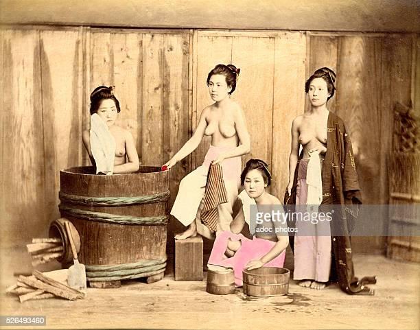 Group of geishas washing and dressing ca 1880