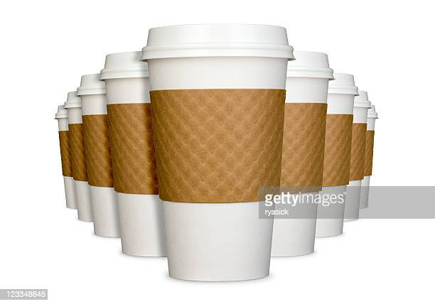 Group of Generic Disposable Coffee Cups in Perspective Isolated