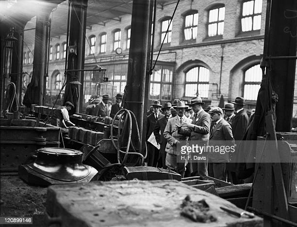 A group of German students of railway engineering examining carriage casts in the foundry at the GWR works at Swindon Wiltshire 4th May 1927
