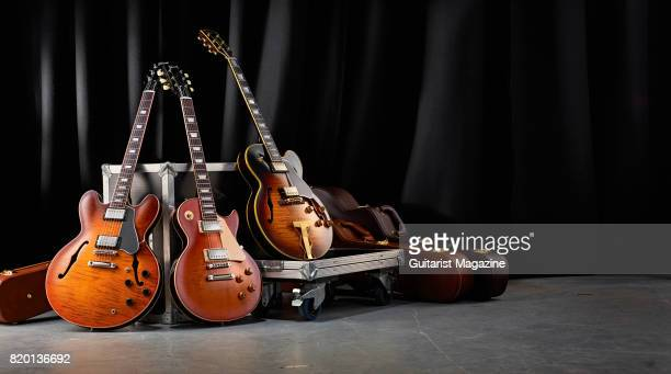 A group of Gibson Memphis ES electric guitars including a Gibson ES335 Premiere Figured Gibson ESLes Paul Standard and a Gibson ES275 Figured taken...