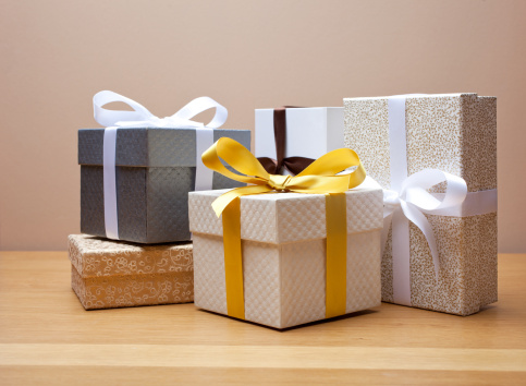 Group of gift boxed presents with bows, - gettyimageskorea