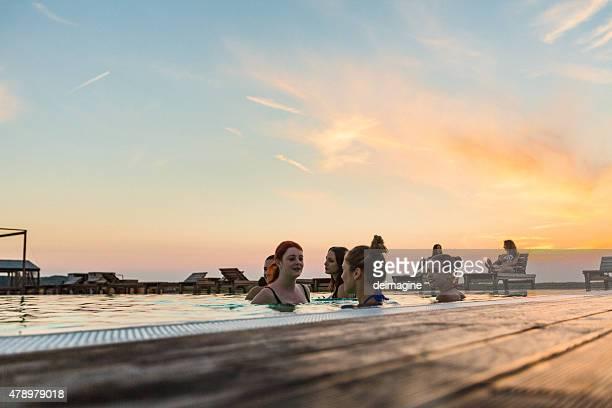 Group of girl enjoying the pool
