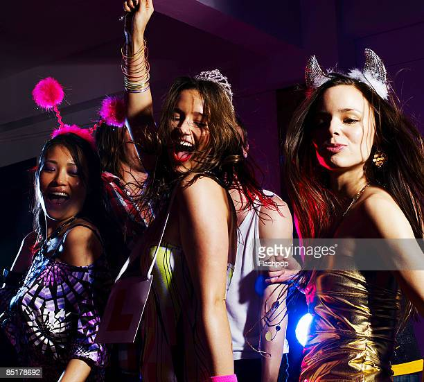 Group of girlfriends dancing