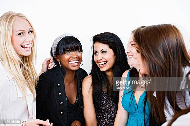 Group of girlfriends laugh together