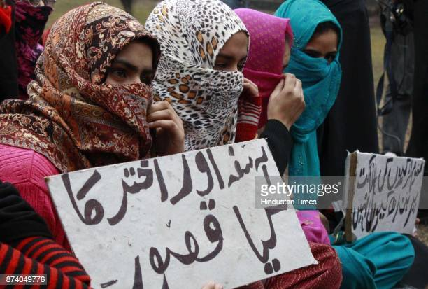 Group of girls assembled in Sher E-Kashmir park at Lalchowk on February 3, 2011 protesting against the killing of two sisters in sopore and urging...