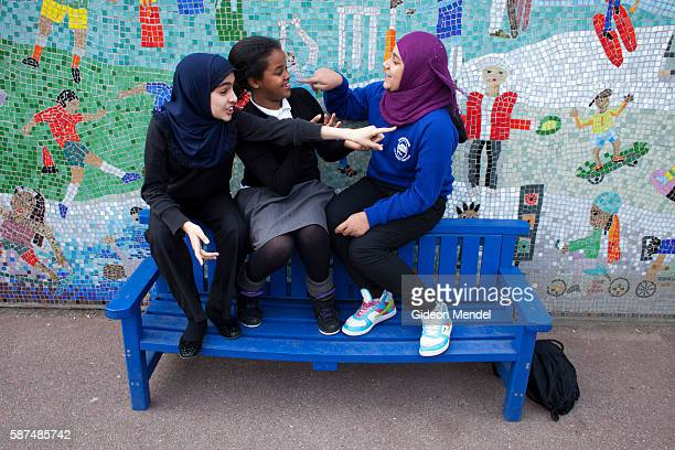 A group of girls at Marner Primary School in Tower Hamlets chat during their playtime This is one of the schools close to the site of the 2012...