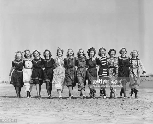A group of girls before the judging of the Golden Hair Contest in conjunction with the city's Golden Jubilee Celebration Long Beach California early...