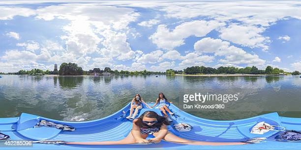 A group of girls enjoy a pedalo on the Serpentine in Hyde Park on July 17 2014 in London England The Met Office has issued a heatwave alert as...
