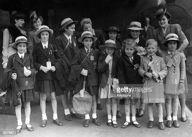 Group of girls from Putney High School waiting at London's King's Cross Station for a train to Bridlington in Yorkshire, where they are to spend a...