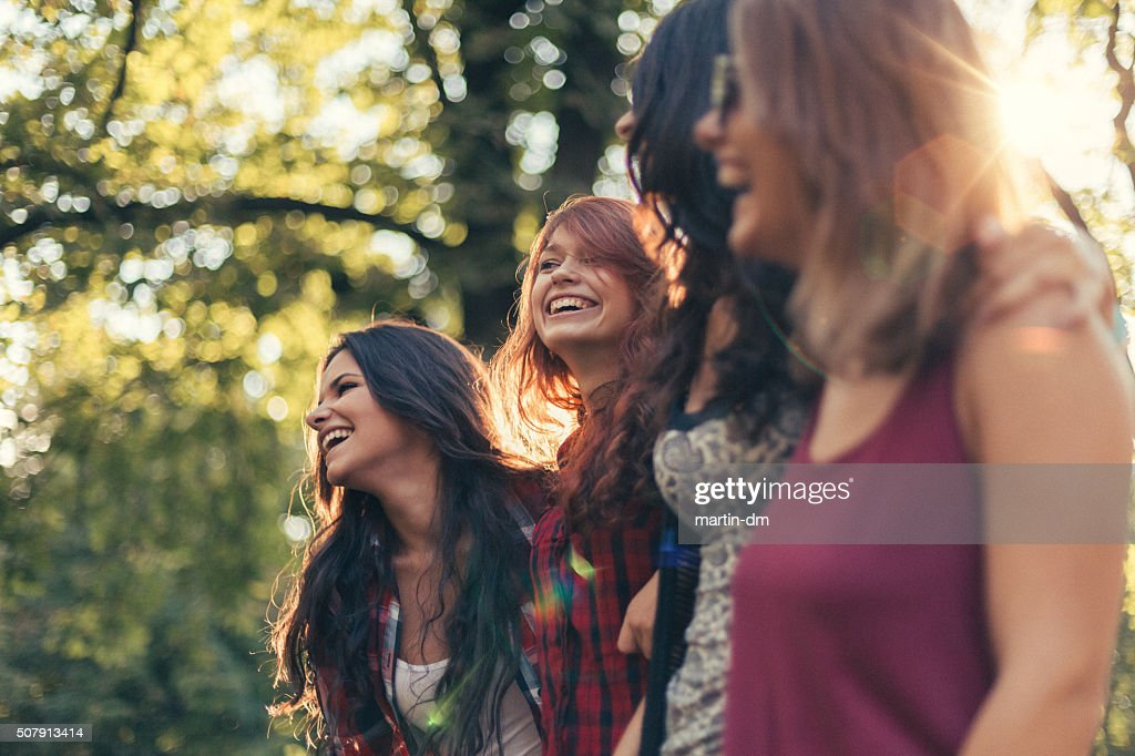 Group of girls in the park : Stock Photo