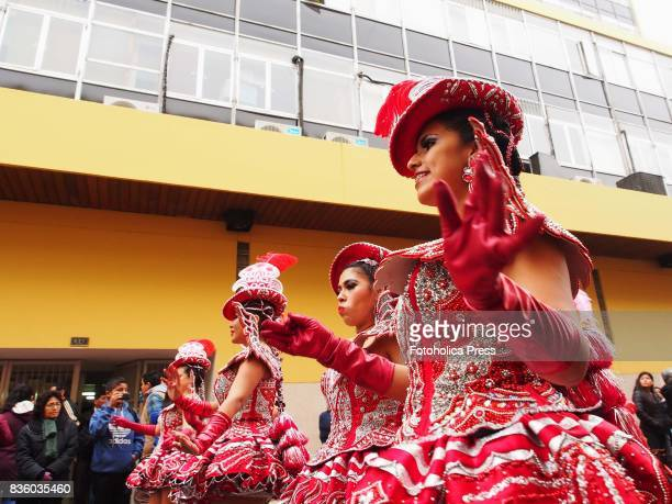 Group of girls performing a traditional dance of Puno. The municipality of Lima organized a parade of Peruvian dances as part of the celebrations for...