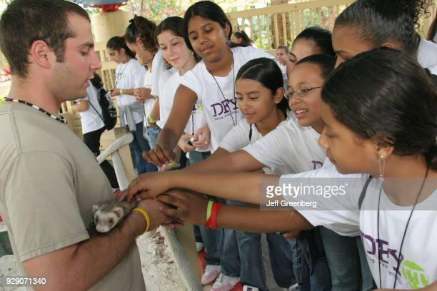 A group of girls petting a ferret at the Drug Free Fest at Miami Metro Zoo