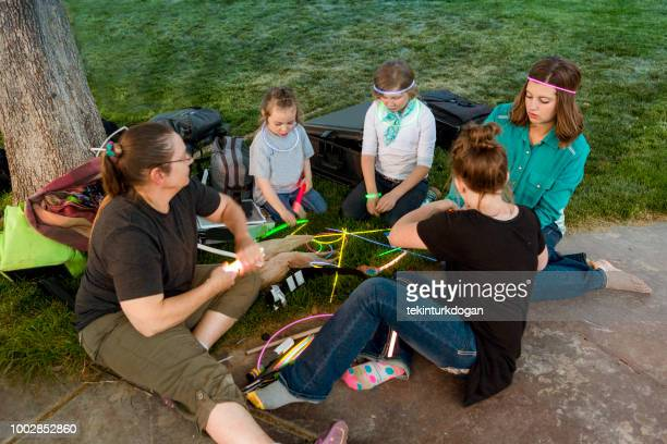 group of girls playing outside together at garden near spanish fork of salt lake city slc utah usa - spanish fork utah stock pictures, royalty-free photos & images