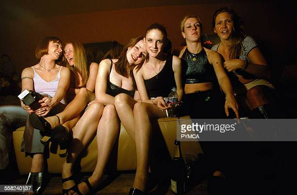 Group of girls relaxing on a sofa at Ministry of Sound The Room At The Top Scotland April 1998