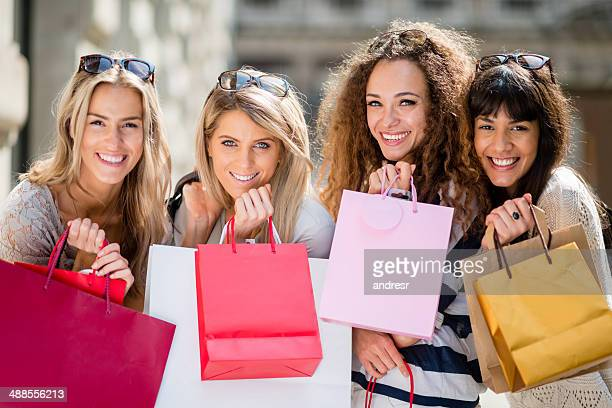 Group of girls shopping outdoors