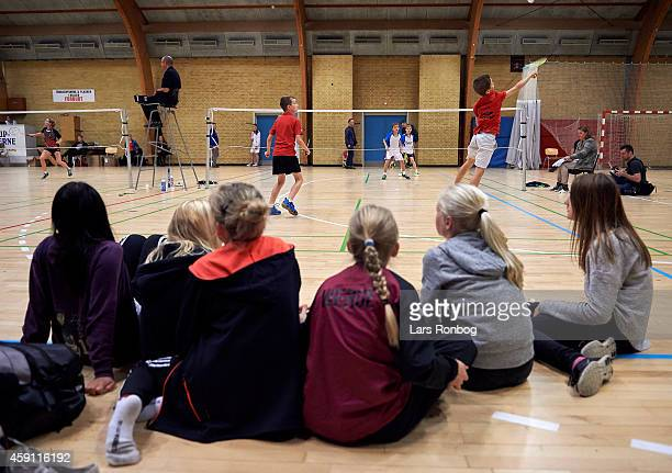 A group of girls watching a match during the Yonex Denmark Junior Youth Badminton Tournament in Paarup Hallen on October 17 2014 in Paarup Denmark