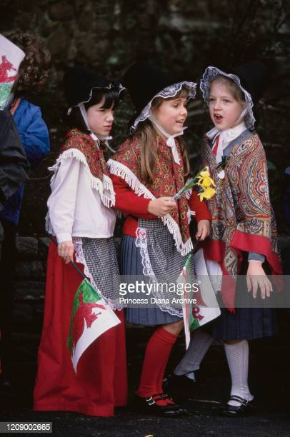 A group of girls waving homemade Welsh flags in Cardiff Wales during a visit by Prince Charles and Diana Princess of Wales for their son William's...