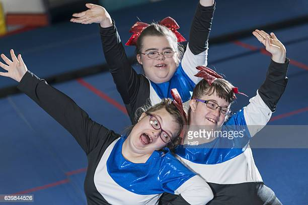 Group of girls with down syndrome on cheerleading squad
