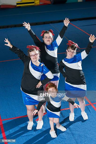 Group of girls with special needs on cheerleading squad