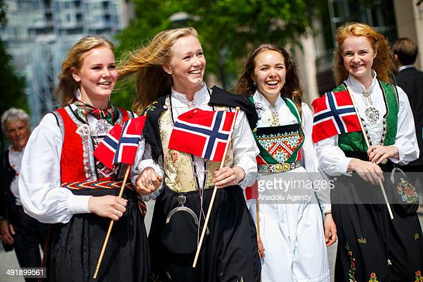 A group of girls with traditional dresses parading to celebrate Norwegian Constitution Day on May 17 2014 in Oslo Norway Norway's Constitution...