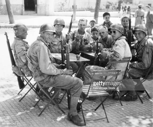 Group of GIs at an Algerian roadside cafe during the North African campaign, 1940-43.