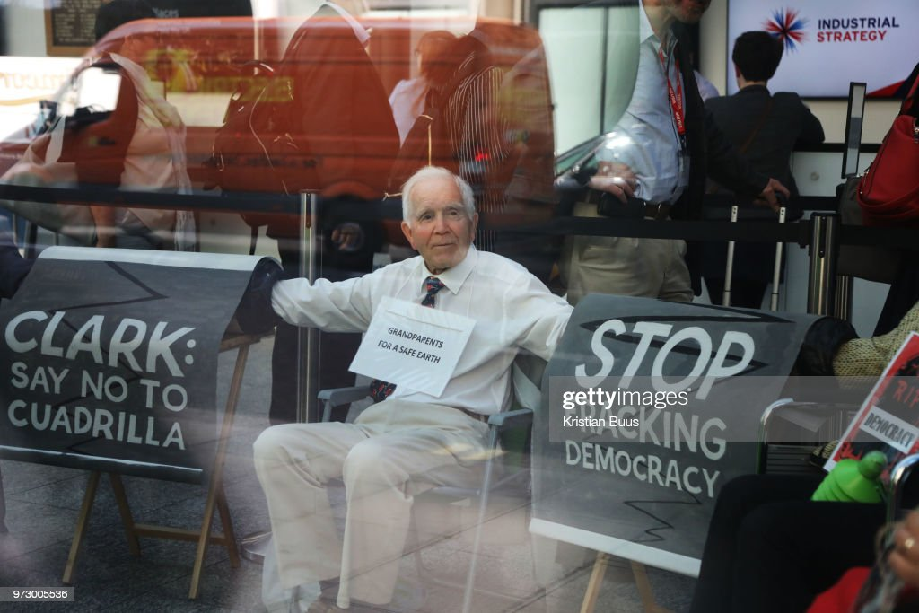 A group of grandparents and elders chained themselves together in a government department building in Westminster to urge the government to oppose 'dangerous' fracking on June 13th 2018 in London, United Kingdom. Philip Kingston, 80, said 'It is so important the government takes climate change seriously and they are not doing it'. Aged between 63 and 82, the 10-strong group from the South West Grandparents for a Safe Earth, GFASE, occupied the Westminster building to demand that the Secretary of State for the Department for Business, Energy and Industrial Strategy to refuse permission for fracking.
