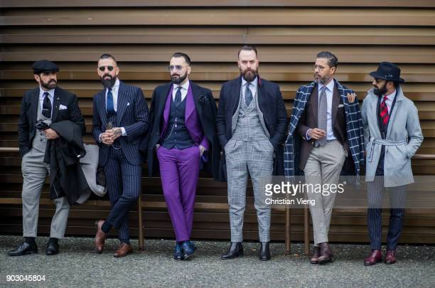 Group of guests is seen during the 93 Pitti Immagine Uomo at Fortezza Da Basso on January 9 2018 in Florence Italy