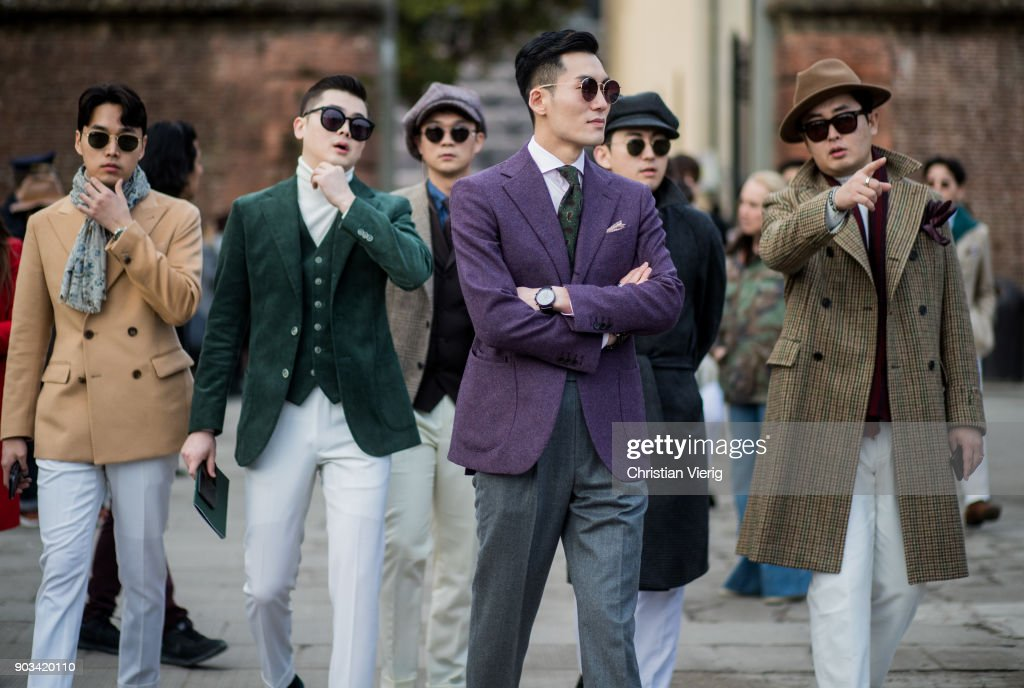 A group of guests is seen during the 93. Pitti Immagine Uomo at Fortezza Da Basso on January 10, 2018 in Florence, Italy.