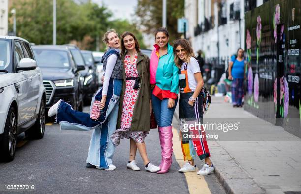 A group of guests is seen outside Natasha Zinko during London Fashion Week September 2018 on September 18 2018 in London England